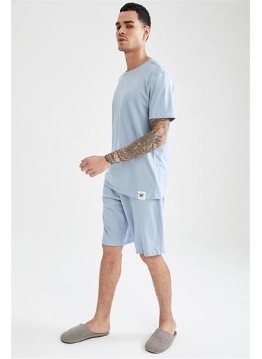 DeFacto Aile Paketi Slim Fit Organik Pamuk Pijama Takımı Mavi